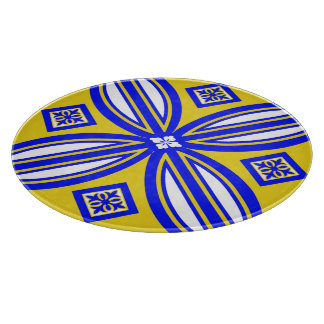 Blue And Yellow Spanish Tile Design Cutting Boards