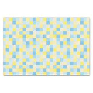 Blue and Yellow Squares Tissue Paper