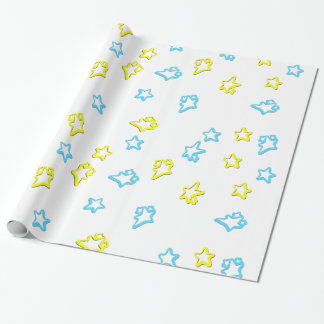 Blue And Yellow Star Cover Wrapping Paper