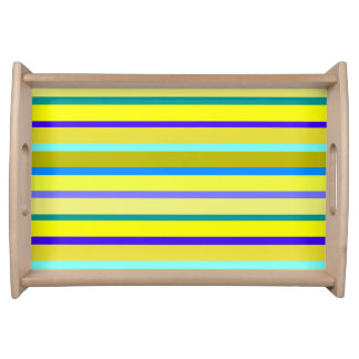 Blue And Yellow Stripes Service Tray