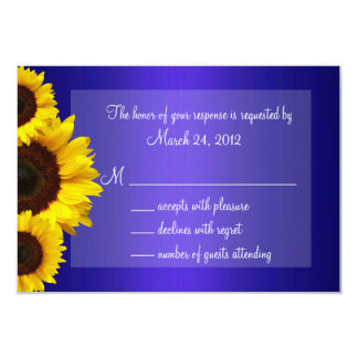 Blue and Yellow Sunflower Wedding RSVP 3.5x5 Paper Invitation Card