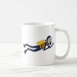 Blue and Yellow Swimming Cartoon Scuba Diver Coffee Mug