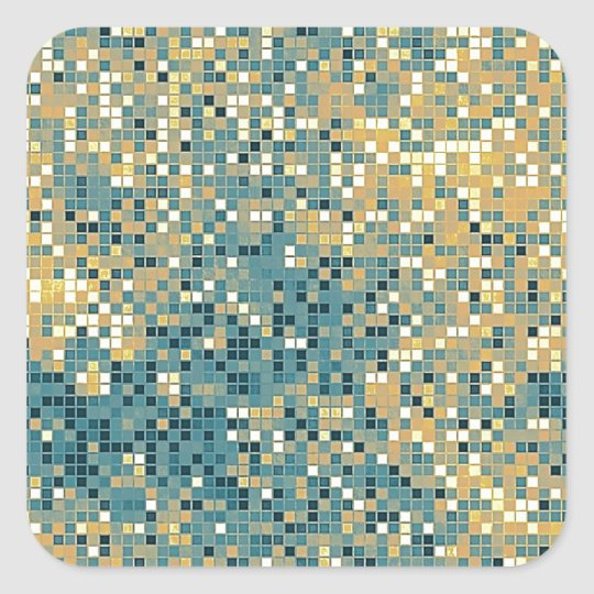 Blue and Yellow Tile Pattern Square Sticker