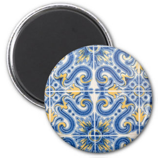 Blue and yellow tile, Portugal 2 Inch Round Magnet