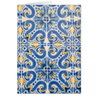 Blue and yellow tile, Portugal Card