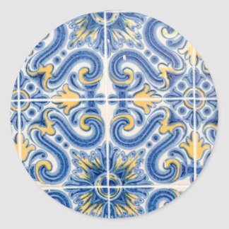 Blue and yellow tile, Portugal Classic Round Sticker