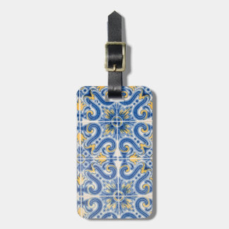 Blue and yellow tile, Portugal Luggage Tag