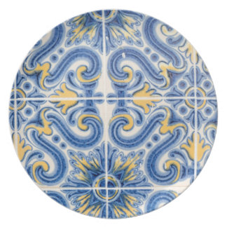 Blue and yellow tile, Portugal Party Plate