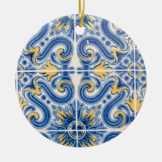 Blue and yellow tile, Portugal Round Ceramic Ornament