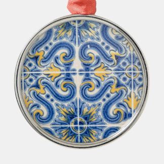 Blue and yellow tile, Portugal Silver-Colored Round Ornament