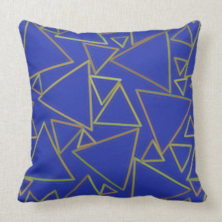 Blue and Yellow Triangles Pillow