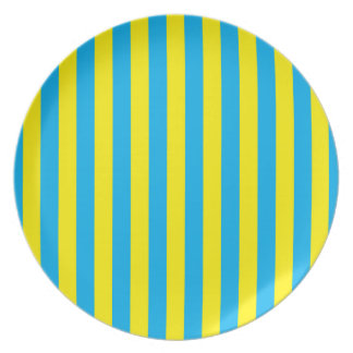 Blue and Yellow Vertical Stripes Dinner Plates