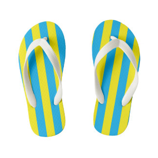 Blue and Yellow Vertical Stripes Kid's Flip Flops