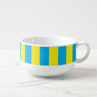 Blue and Yellow Vertical Stripes Soup Mug