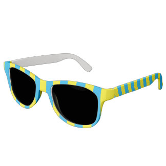 Blue and Yellow Vertical Stripes Sunglasses