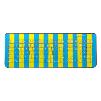 Blue and Yellow Vertical Stripes Wireless Keyboard