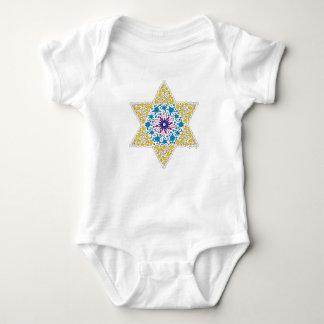 Blue and Yellow Vintage Star of David - Magen Davi Baby Bodysuit