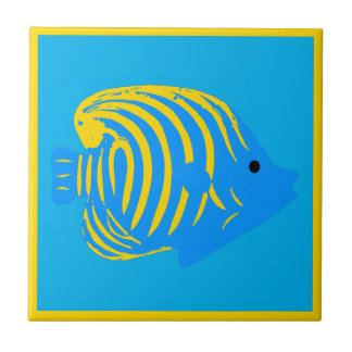 Blue and Yellow Whimsical Fish Sea Themed Bathroom Tiles