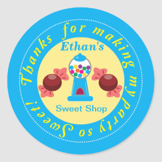 Blue and Yellow Whimsical Gumball Party Sticker