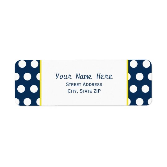 Blue and Yellow With Polka Dots Address Label