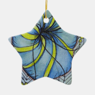 Blue and Yellow Zentangle Blossom Ornament