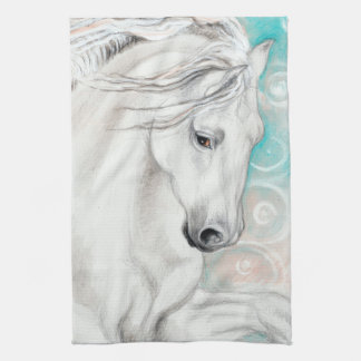 Blue Andalusian Horses Kitchen Towel