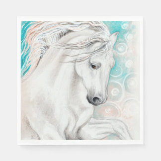 Blue Andalusian Horses Paper Napkins