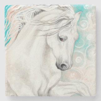 Blue Andalusian Horses Stone Coaster