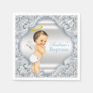 Blue Angel Boy Baptism Disposable Napkins