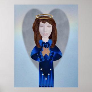 Blue Angel in Prayer Poster