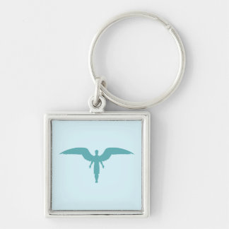 Blue Angel Silhouette Silver-Colored Square Keychain