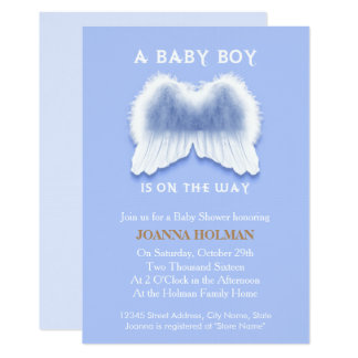 """Blue Angel Wings Baby Shower Card 5"""" X 7"""" Invitation Card"""