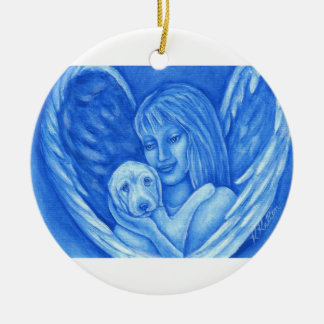 Blue Angel with Puppy Dog Christmas Ornament