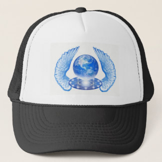 Blue Angelic Planet Earth Wings Trucker Hat