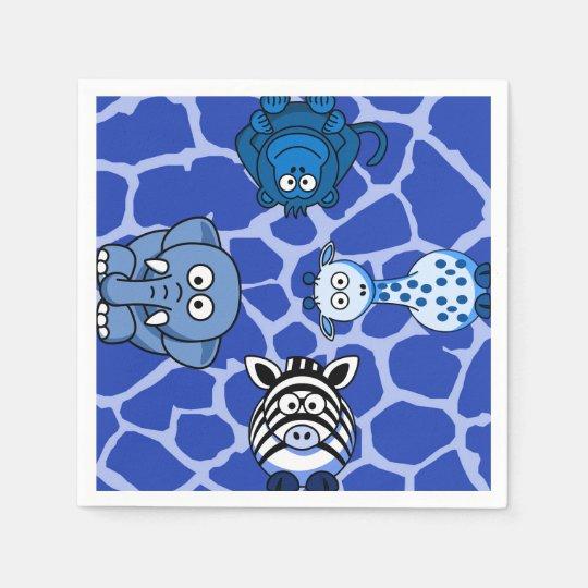 Blue animal jungle wild safari baby shower disposable napkins