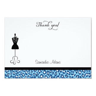 Blue Animal Print Bridal Shower Thank You Card