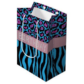 Blue Animal Print Diamond Birthday Gift Bag