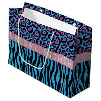 Blue Animal Print Diamond Bridal Shower LG Large Gift Bag