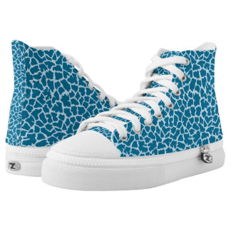 Blue Animal Print Zipz High Top Shoes