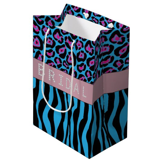 Blue Animal Prints Diamond Bridal Shower Medium Gift Bag