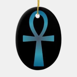 Blue Ankh Ceramic Oval Ornament