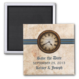 Blue Antique Clock Save the Date Magnet