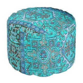 Blue Antique Oriental Persian Carpet Print Pouf