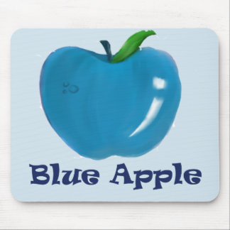 Blue Apple Mouse Pad Light Blue Background