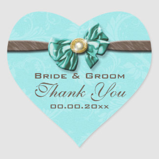 Blue aqua brown gem bow floral heart sticker