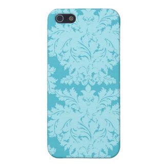 Blue Aqua Damask i iPhone 5 Cases