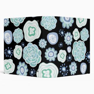 Blue Aqua Floral Pattern Designer Black Binder