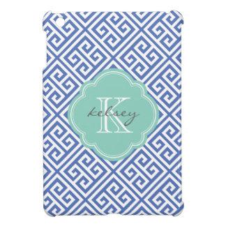 Blue & Aqua Greek Key Custom Monogram iPad Mini Covers