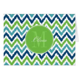Blue Aqua Green Zigzag Ikat Pattern Card
