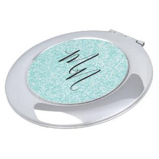 Blue-Aqua-Initial-Fun-Monogram-Round Vanity Mirror